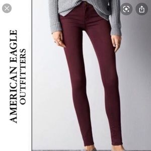 High Rise Jeggings- Maroon